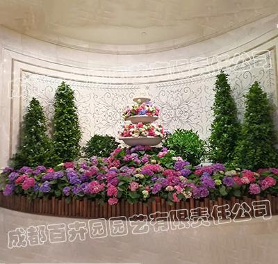某酒店花卉绿植组合造景案例